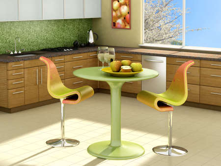 Modern kitchen with apples on the table.