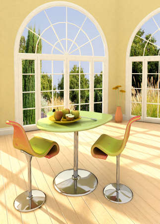 Modern room with french windows and apples on the table.  photo