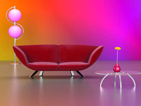 3D rendering of a modern interior in red and pink.
