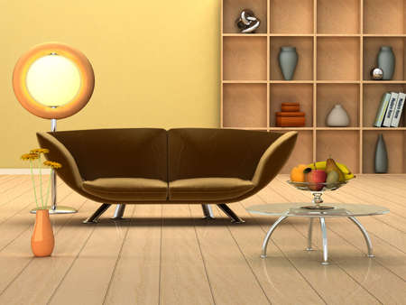 3D rendering of a modern interior in warm colors Stockfoto