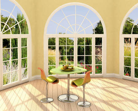 Modern room with french windows and apples on the table.  Stockfoto