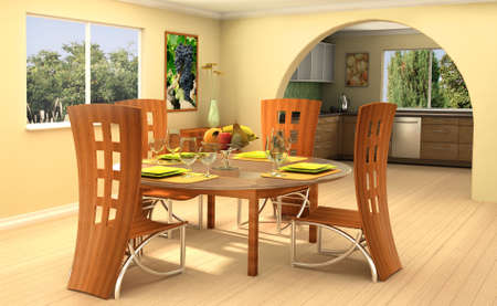 3D rendering of modern dining room with a kitchen on background