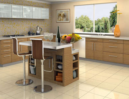 Modern kitchen with an island. The picture on the wall is my own photograph. Stock Photo