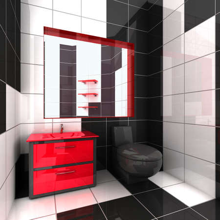 3D rendering of a modern bathroom in black, white and red