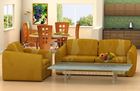 lave: The picture on the wall is my own image.Modern living room with a kitchen and dining room on backgroundThis is 3d rendering, so if you want some modifications to the scene, change color scheme or have lave large file, just ask. Stock Photo