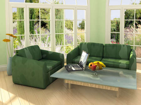 Image on the laptop is my own photograph.Modern room with french windows and laptop on the table.This is 3d rendering, so if you want some modifications to the scene, change color scheme or have lave large file, just ask. Stockfoto