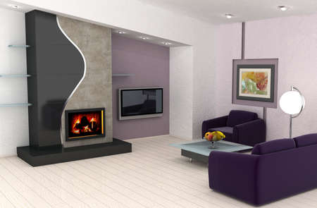 The picture on the wall is my own image. Modern living room with a fireplace.This is 3d rendering, so if you want some modifications to the scene, change color scheme or have lave large file, just ask. 免版税图像