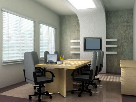 suite: Laptop background is my own image.3D rendering of an empty meeting room Stock Photo