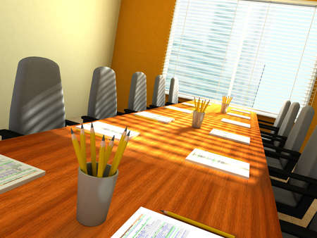 empty: 3D rendering of an empty meeting room