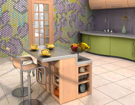 The mosaic murall is my own design.Modern kitchen with a mural. Stock Photo