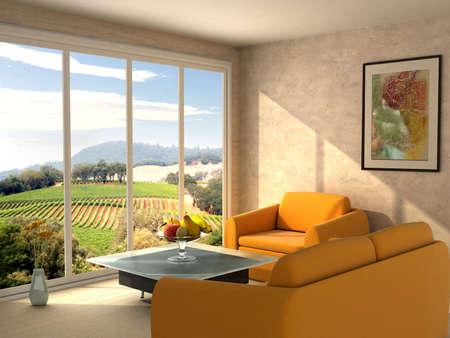 interni casa: Immagine sulla parete e vista dalla finestra Archivio Fotografico