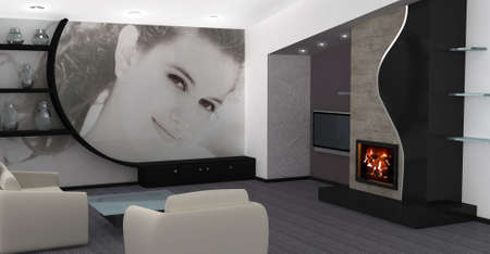 Photo on the wall.Modern living room with a fireplace. photo