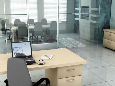office furniture: Laptop background is my own image.3D rendering of an empty meeting room Stock Photo