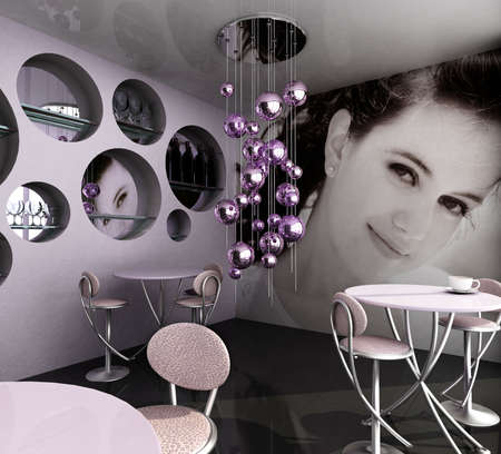 lounge bar: Photograph on the wall is my own image.Modern empty cafe Stock Photo