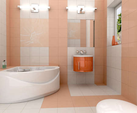 3D rendering of a modern bathroom with in white and orange