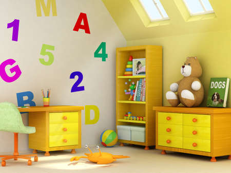 Picture of a girl, book covers, and design on the wall are my own images.3D rendering of a children room Stock Photo - 1150077