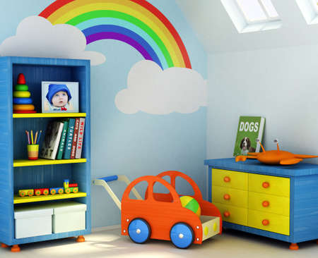 Picture of a boy, book covers, and design on the wall are my own images.3D rendering of a children room photo