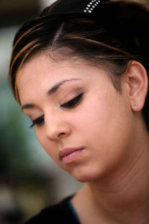 Close-up portrait of a sad teen girl Stock Photo
