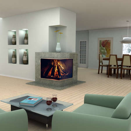 Picture on the wall and book cover are my own images.Modern living room with a fireplace.