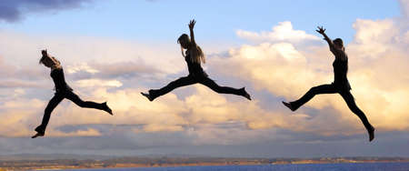 Muliple shots of a Leaping woman at sunset