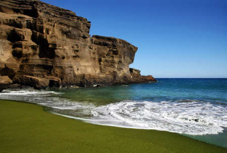 island: Green sand beach on Big island, Hawaii Stock Photo