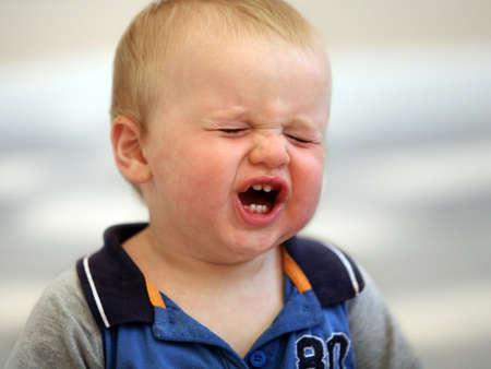 Een huilen een jaar oude baby boy Stockfoto - 3974433