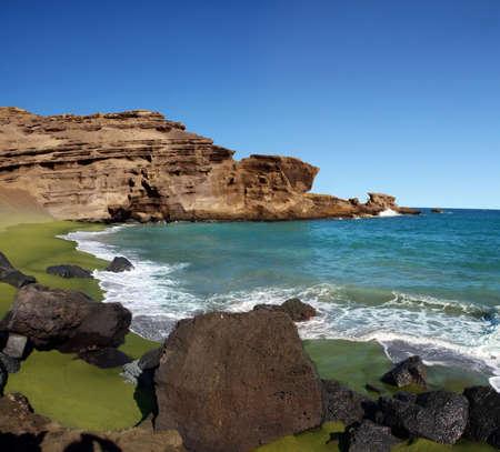Green sand beach on Big island, Hawaii Stockfoto