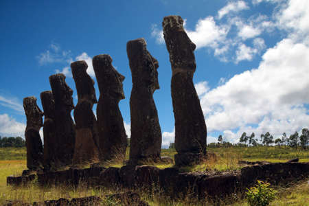A platform with statues on Easter Island Stock Photo - 4550205
