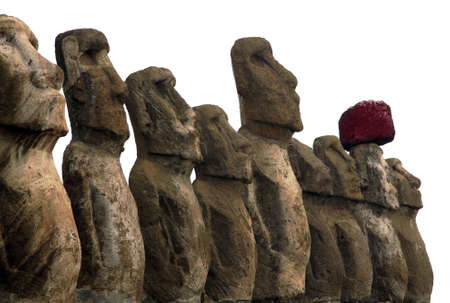 A platform with statues on Easter Island photo