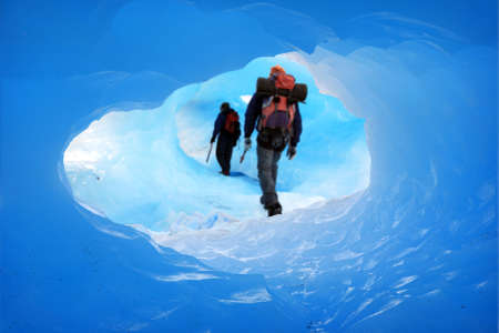 expeditions: A Mountain climbers at Perito Moreno Glacier, Patagonia, Argentina