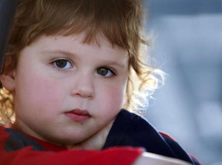 かわいい悲しい男の子のクローズ アップ 写真素材