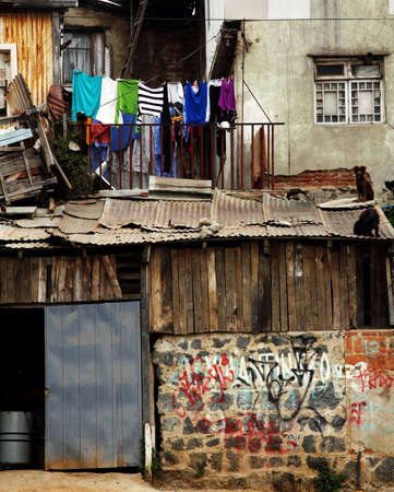 social apartment: Urban decay in poor district in Valparaiso, Chile