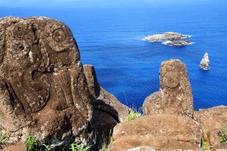Horizontal image of petroglyphs at Orongo village, Easter Island  Stock Photo - 4882789