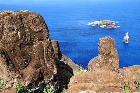 motu: Horizontal image of petroglyphs at Orongo village, Easter Island  Stock Photo