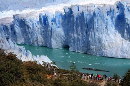 People looking at beautiful Perito Moreno glacier Stock Photo