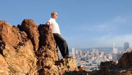 A mature man enjoying the view of San Francisco