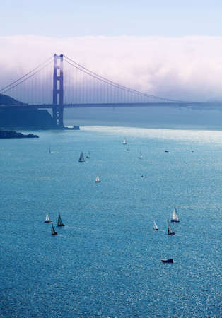 View of a Golden Gate bridge and boats in the bay