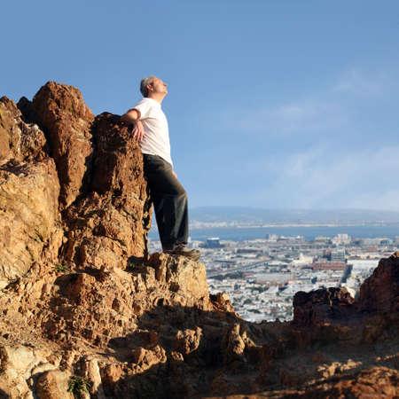 A mature man enjoying the view of San Francisco photo