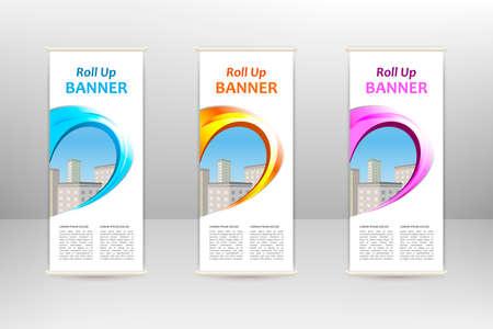 Roll up vertical banner, business design template Vettoriali