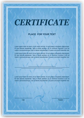 Certificate of completion template with guilloche pattern, watermarks for diploma, invitation, gift voucher, coupon, official
