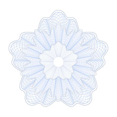 Guilloche Pattern Rosette for certificate, diploma, voucher, currency, play money or other security papers. Vector Illustration