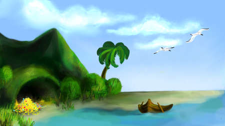 shallop: Island with the gold in the ocean Illustration
