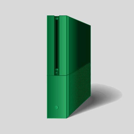 computer case: Vector game green console , computer case