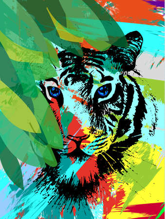 Tiger under leafes in vector