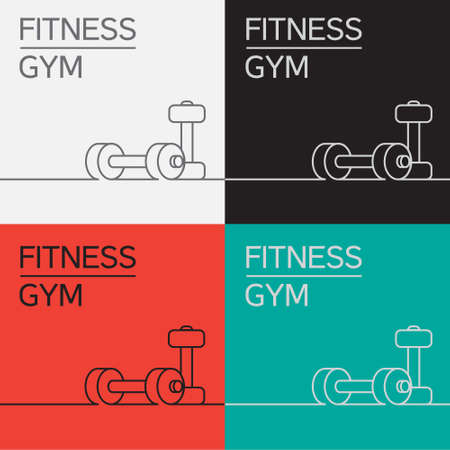 barre: Dumbbell vector icon and background in eps