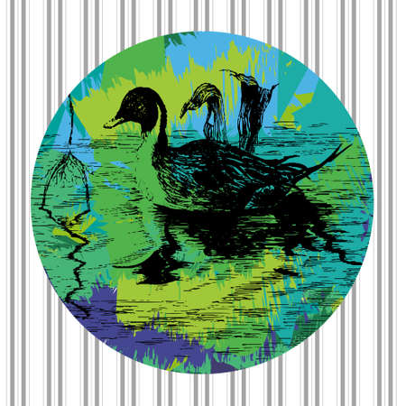 Colorful vector duck in pool in eps Vector