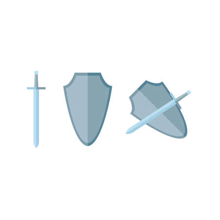 Sword and shield in flat, vector Vector