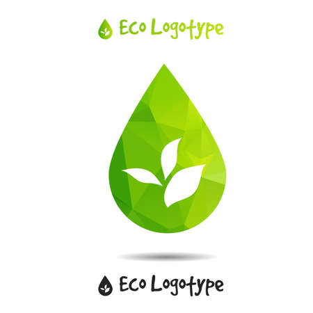 leaves on water: Vector ecology logo or icon , nature logotype, drop icon Illustration
