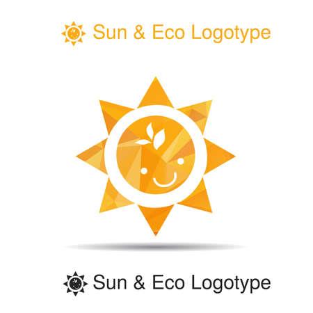 sun protection: Logo Bio, icono y s�mbolo: la sonrisa y las hojas en el sol, protecci�n solar