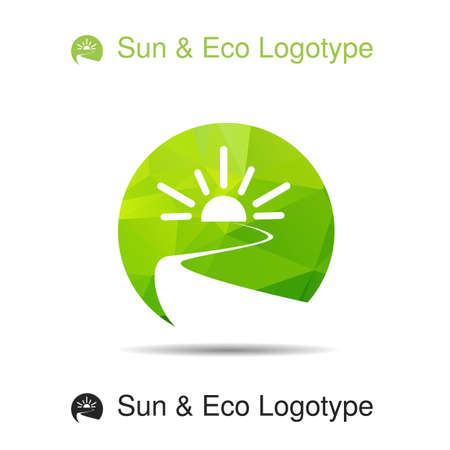 rivers: Ecology logotype, icon and nature symbol: sun, river (water) in circle